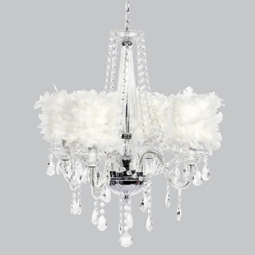 Middleton Four Light Chandelier w/ Feather Shades